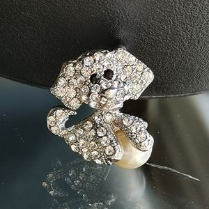 NWT Dog with Ball pin brooch with crystals pearl
